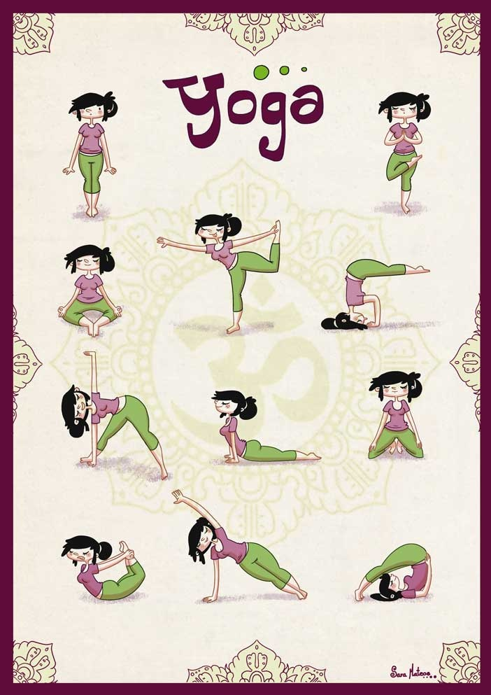 Posturas de Yoga. Ilustración digital. Yoga poses. Digital Illustration. SARA MATEOS