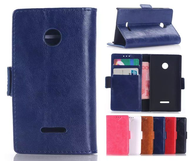 Oil Buffed for Nokia 435 Leather Cell Phone Cases, High Quality Luxury Shell for Microsoft Lumia 435 Flip Wallet Leather Cover