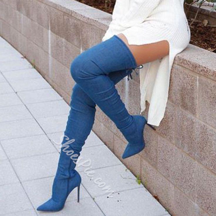 Shoespie Dark Blue Pointed Toe Stiletto Heel Over the Knee Denim Boots