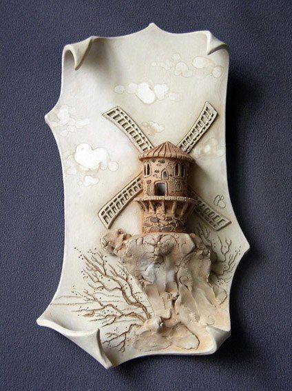 "настенная картина материал: керамика (фаянс) ""мельница"""