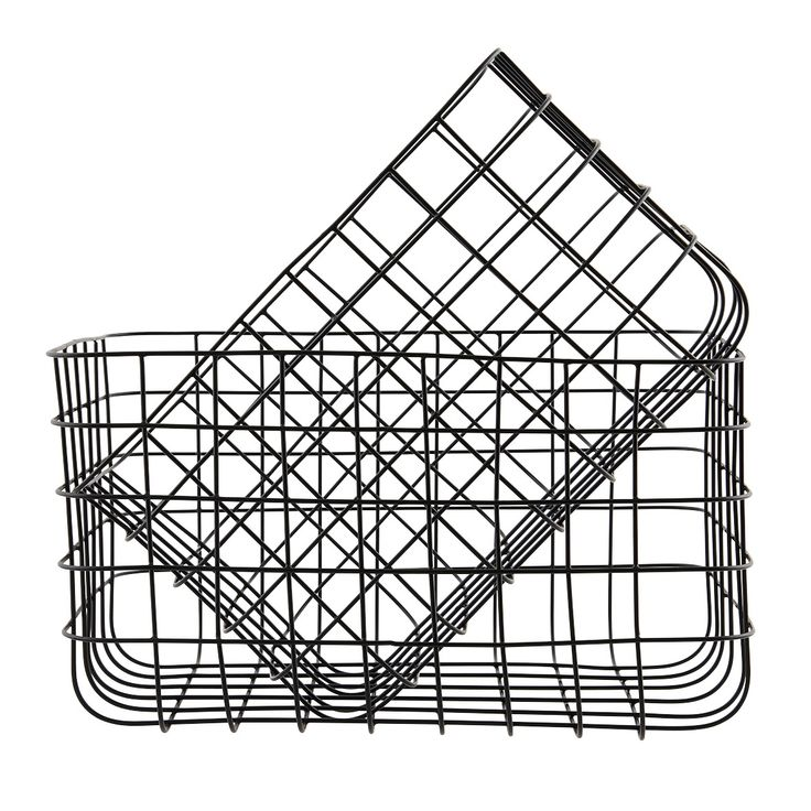 Contemporary storage by House Doctor - set of two black basketsSmall: 24 x 32 cm - H 20 cmLarge: 28 x 36 cm - H 20 cm