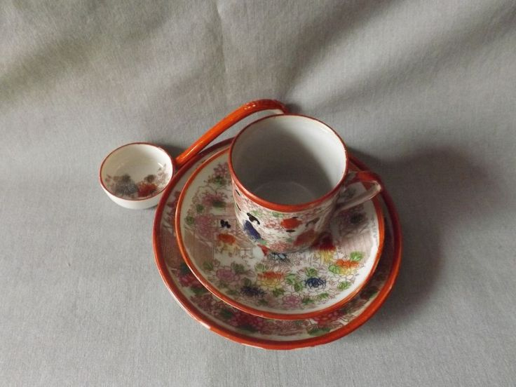 """YOU ARE BIDDING ON AVintage Asian Demitasse Tea Cup Saucer Set Red Geisha Girls Porcelain Japan. Set Includes Cup, Small Saucer 4 1/2', Large Saucer 5 1/2"""" & Ladle 5"""".WOULD MAKE A WONDERFUL ADDITION TO ANY COLLECTION!!! PLEASE NOTE: ALL ITEMS ARE SOLD AS IS. *********ABSOLUTELY NO REFUNDS!!*****PLEASE LOOK AT PHOTOS CLOSELY. ALL QUESTIONS WELCOME!! I ACCEPT PAYPAL ONLY & PAYMENT IS EXPECTED WITHIN THREE DAYS OF AUCTION CLOSING. I SHIP TO THE LOWER 48 STA..."""