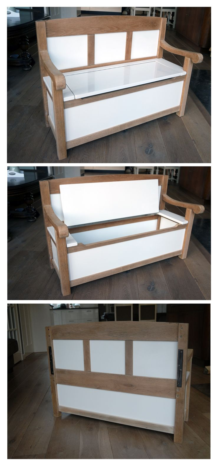 Van het eiken hoofdbord van een antiek ledikant en eikenhout van een tafel-onderstel heb ik dit leuke kinderbankje gemaakt.  De afmetingen zijn ongeveer 95x60x40 cm. De zithoogte is 32 cm