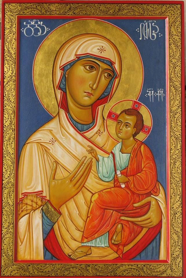 Mother of God with The Child Jesus. Byzantine icon handmade painted.