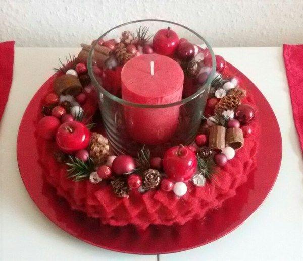 weihnachtlicher kranz mit rotem filz bastelanleitungen. Black Bedroom Furniture Sets. Home Design Ideas