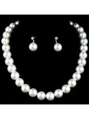 Gorgeous Wedding Jewelry Set,Including Pearls Necklace with Pearls and Rhinestones Earrings