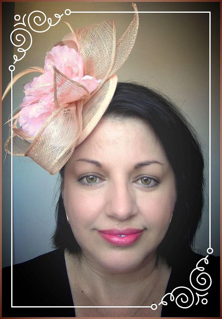 Bibi/Chapeau Rose/Saumon/Pêche- Sisal, fleur et plumes - Mariage, cocktail, cérémonie.... : Chapeau, bonnet par ladyplazza