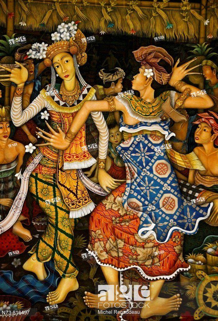 Stock Photo Painting Ubud Bali Indonesia Bali Painting Indonesian Art Indonesia