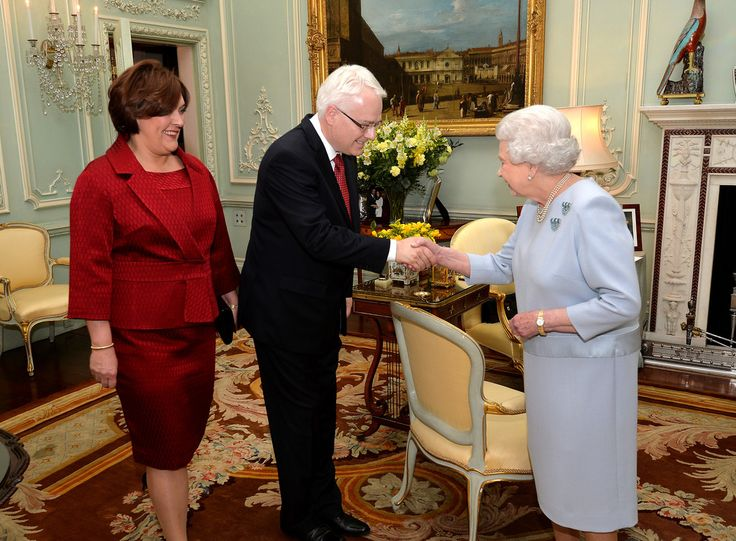 The Queen receives Croatian President Ivo Josipovic and his wife Tatiana Josipovik during an audience at Buckingham Palace 22 May 2013