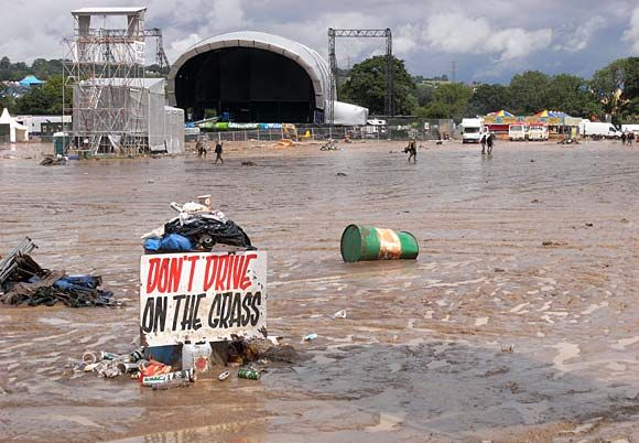 Don't drive on the Glastonbury grass