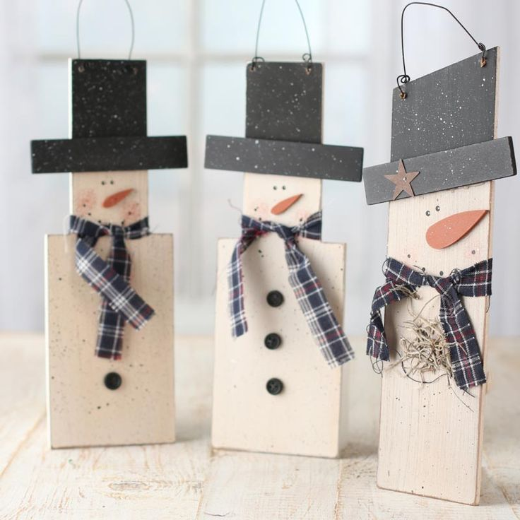 Primitive Wood Snowman Hanger - Wall Hanging Decorations - Christmas and Winter - Holiday Crafts