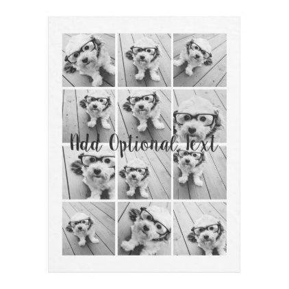 12 Photo Instagram Collage - Black and White Fleece Blanket - cyo diy customize unique design gift idea