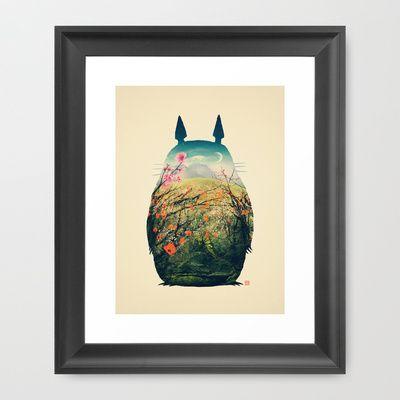 Tonari no Totoro Framed Art Print by Victor Vercesi - $35.00