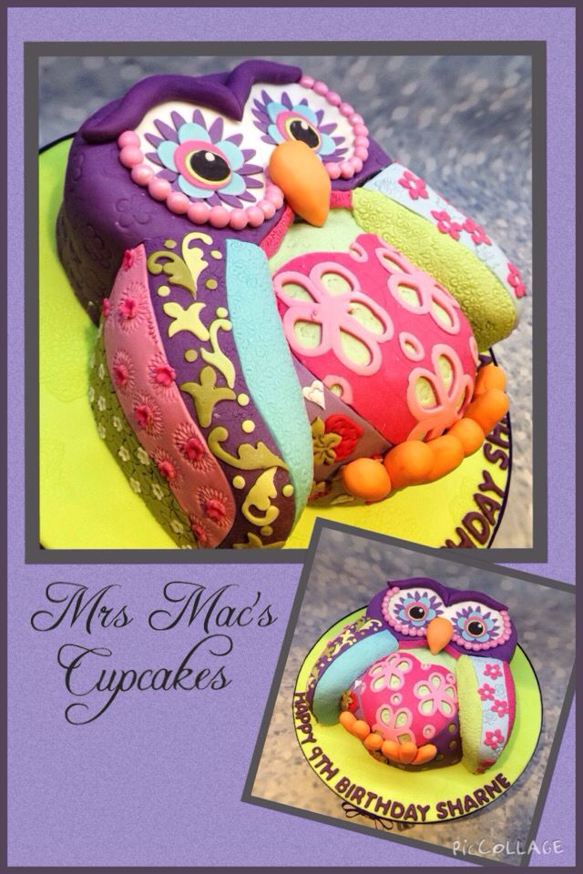 My own version of the Lindy Smith design. Patchwork Owl cake.