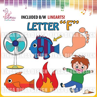 phonics beginning sound letter F clip art