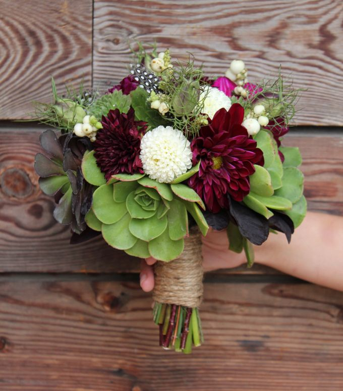 Green Succulents, Burgandy Dahlias, White Mum Bouquet. Looks very similar to what I did on the tables for Alex's wedding!