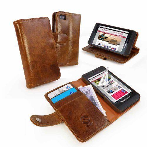 Funda/Cartera estuche de piel genuino 'Vintage' BlackBerry Z10 (con protector de pantalla) - marrón B00H2S8SWK - http://www.comprartabletas.es/fundacartera-estuche-de-piel-genuino-vintage-blackberry-z10-con-protector-de-pantalla-marron-b00h2s8swk.html