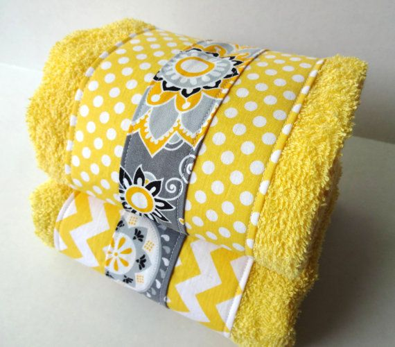 Yellow and Gray Chevron bathroom towels set of two, yellow and grey, chevron towels, chevron bathroom hand towels