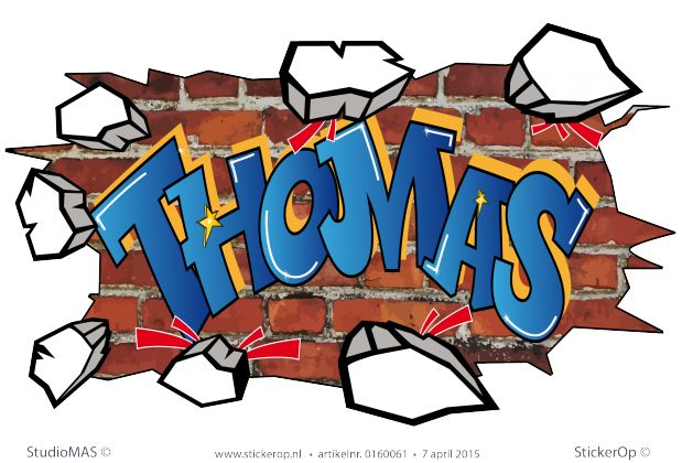 StickerOp - Muursticker full colour graffiti - Thomas