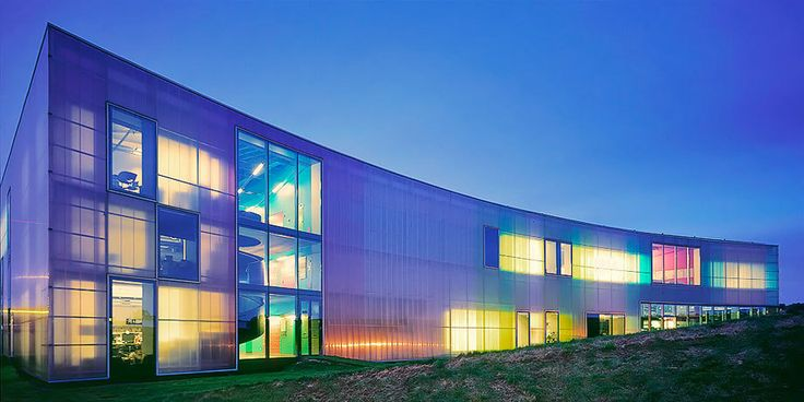 The cladding on the Laban Centre has four layers with a U-value of 1.45 W/m2°K, better than a low-e double glass unit. But present multiwall polycarbonate sheets, only 60mm thick, have already reduced the U-value to 0.85W/m2ºK, in the range of a triple glass with argon and low-e coatings.