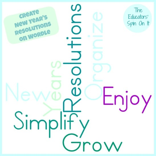 Using Wordle to Create New Year's Resolutions with Kids by The Educators' Spin On It {New Years Printables and Crafts included too}