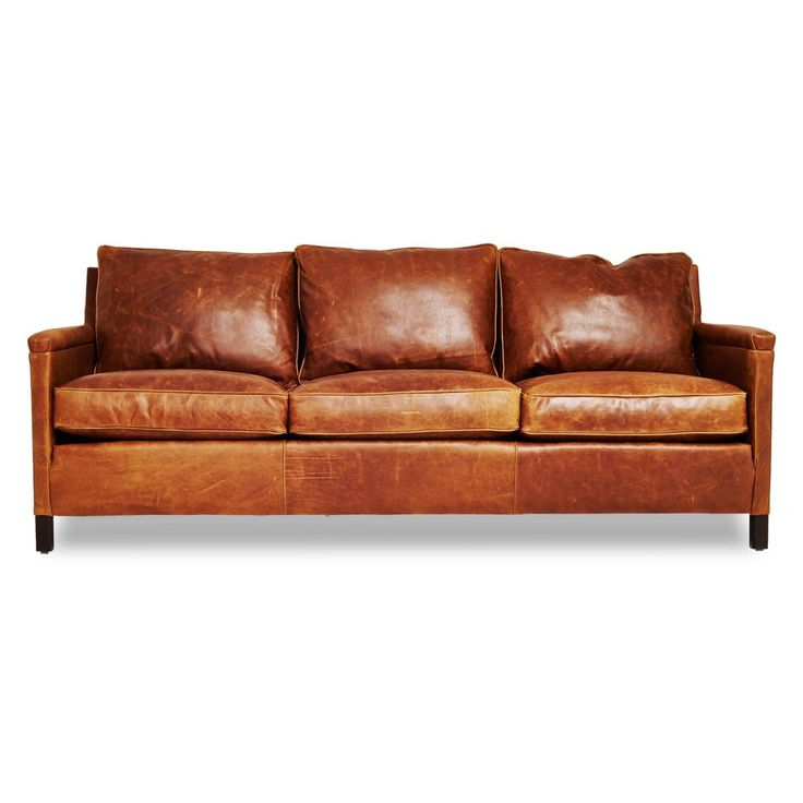 Distressed leather sofa dark brown