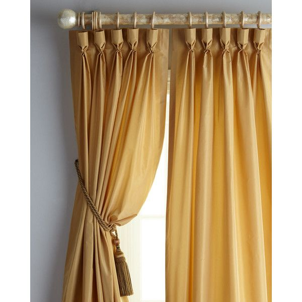 """Horchow Each 48""""W x 96""""L Rod-Pocket Kate Curtain ($270) ❤ liked on Polyvore featuring home, home decor, window treatments, curtains, pleated window treatments, dark brown curtains, pleated draperies, pleated curtains and chocolate brown curtains"""