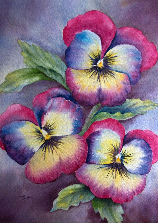 Pansies Painting by Dee Carpenter - Pansies Fine Art Prints and Posters for Sale