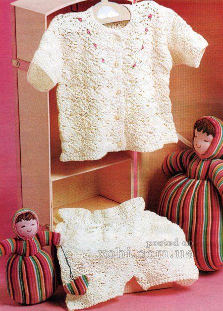 детский летний вязаный комплект - жакет и шортики