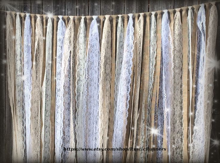 Rustic Country Charm Barn Wedding Burlap Lace Hanging Garland Swag Rag Tie Backdrop Wedding decor Hanging photo backdrop Prop size 6 ft X 6 by RusticRunners on Etsy https://www.etsy.com/listing/240899203/rustic-country-charm-barn-wedding-burlap