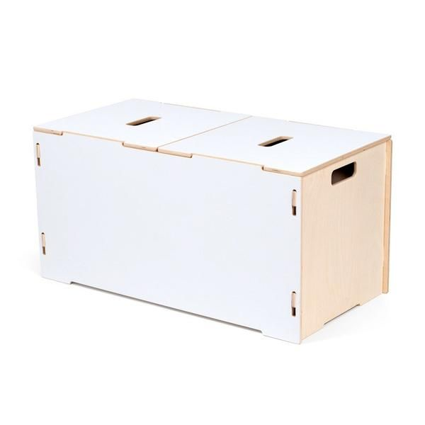 Made of Baltic birch, the Kids White Wooden Toy Box is durable, sturdy, & will last for years. White toy box is compatible with the stacking crate collection.