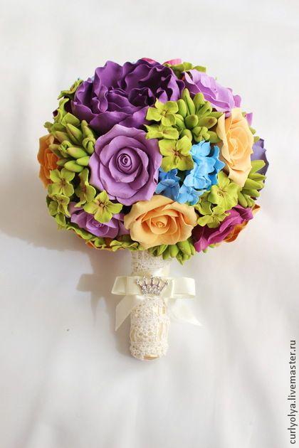 """Яркий букет невесты """"Весна"""", свадебные цветы. Handmade."""