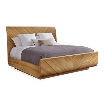 Caracole To Be Veneer You - Chevron Veneer Modern Sleigh Bed - King