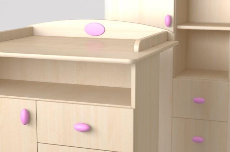 Nelli cyclamen cupboard and wardrobe / Nelli ciklámen pelenkázó komód és szekrény részlet
