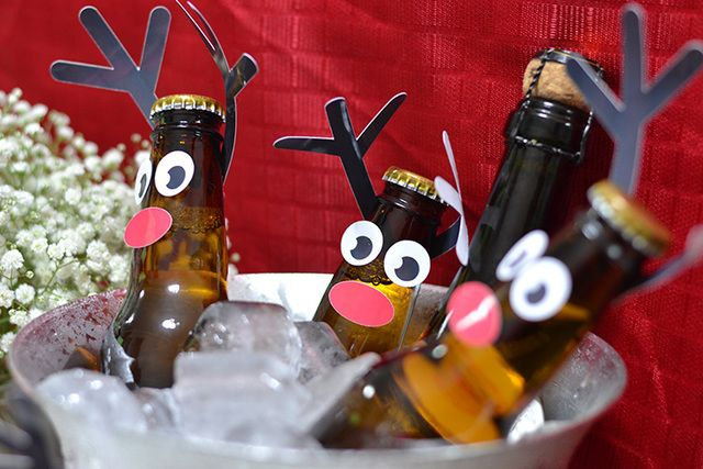Great way to serve beer at a Christmas party! See more party ideas at CatchMyParty.com. #christmas #party #beer #reindeer