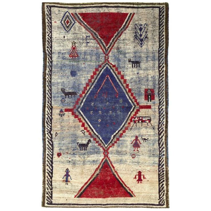 Antique Persian Gabbeh Rug | From a unique collection of antique and modern persian rugs at https://www.1stdibs.com/furniture/rugs-carpets/persian-rugs/