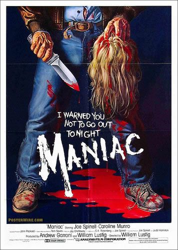 Maniac-80s horror movie posters were  brutal! you definitely don't see covers like this nowadays