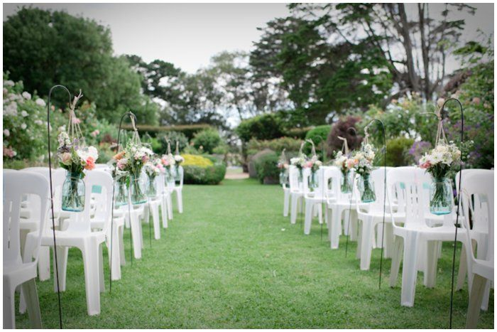 Bo-Peep flower hooks line the aisle  Location: Morning Star Estate  Photographer: Tigs Macallan  http://www.tigsmacallan.com.au Syling: One Day Your Way