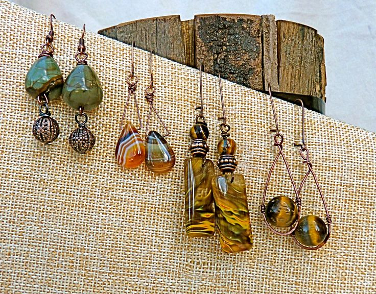 Copper and Stone Earrings, Rustic Earrings, Dangle, Drop, Gift for Mom, Tiger Eye, Cherry Quartz, Picasso Jasper, Agate, Neutral Earrings, - pinned by pin4etsy.com