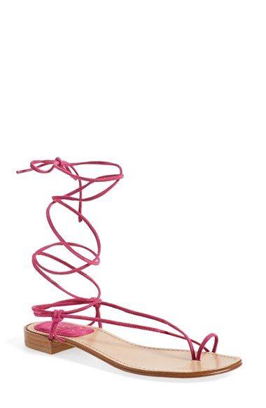 STUART WEITZMAN 'Nieta' Lace-Up Flat Sandal (Women). #stuartweitzman #shoes #flats