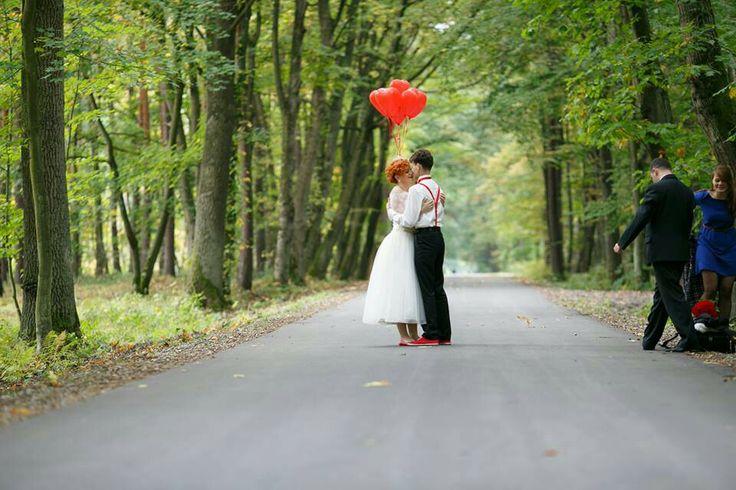 Our Bride Ewa in tea length #weddingdress. Red hearts :)