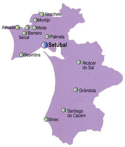 Mapa do Distrito de Setúbal, Portugal