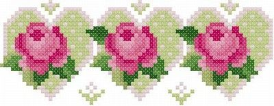 Hearts and Flowers Cross Stitch Bookmark Pattern