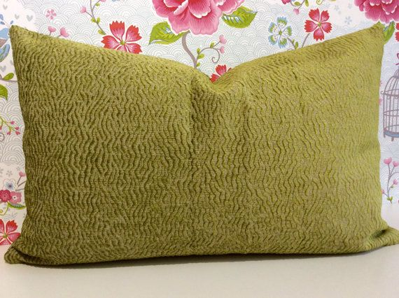 LIME GREEN accent cushion cover, chenille velvet fabric pillow sham in Nina Campbell fabric from Osborne and Little. Rectangle LUMBER sham.