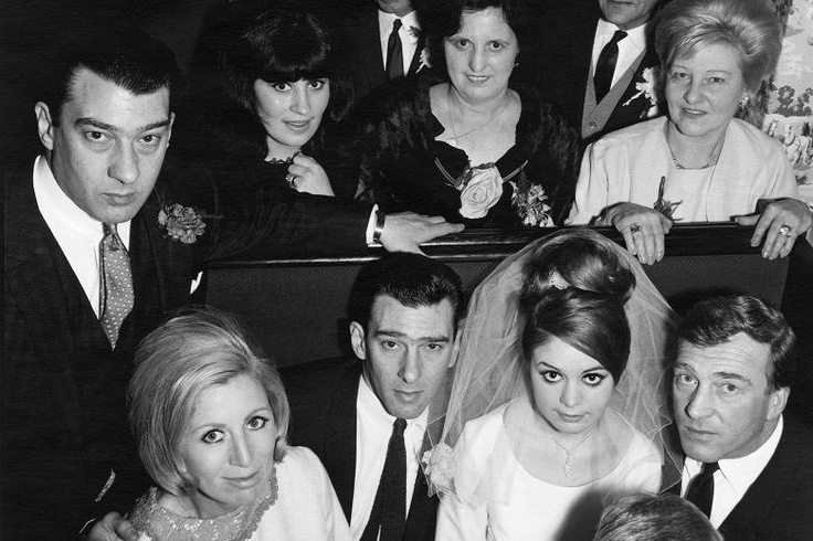 20th April, 1965. Reggie Kray with bride Frances, Ronnie at left with sister in law Dolly. Charlie Violet Kray at right.