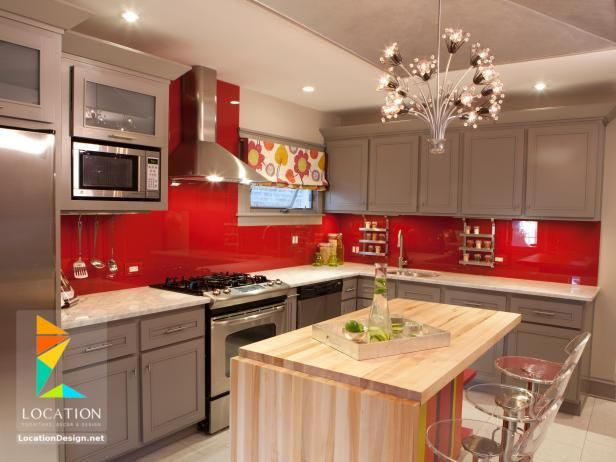 كتالوج الوان مطابخ صغيرة 2018 2019 لوكشين ديزين نت Red Kitchen Decor Red Kitchen Walls Kitchen Design Color