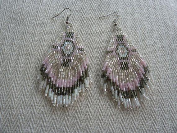 Bohemian Style Seed Beaded Fringe Earrings in Grey White by amezti