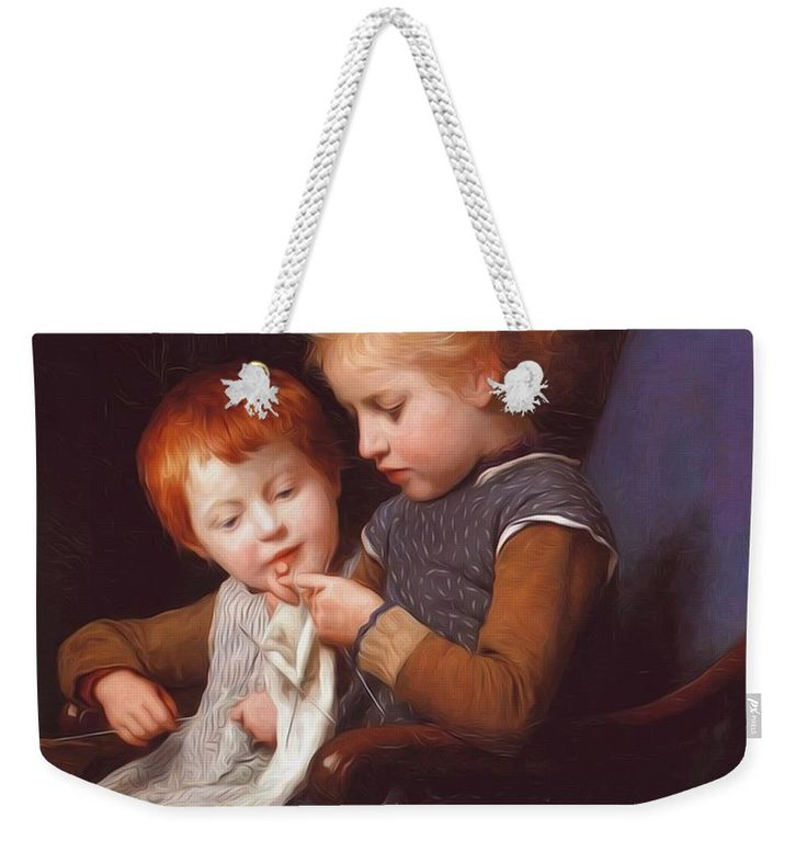 The Weekender Tote Bag featuring the painting The Little Knitters by Anker Albert