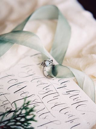 Vintage engagement ring | Noi Tran Photography | see more on: http://burnettsboards.com/2015/01/romantic-winter-styled-shoot/