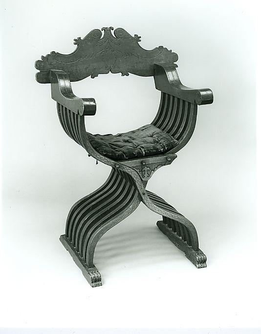Savonarola Chair and Cushion. 15th c Italian. Wood; silk; linen.